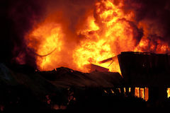 Inferno. Huge fire in Voorhout, Holland Stock Photo