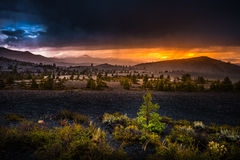 Inferno Cone Overlook Craters of The Moon at Sunset Stock Photo