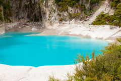 Inferno Crater Lake. Incredibly blue and highly acidic Inferno Crater Lake at Waimangu geothermal area, New Zealand Royalty Free Stock Images