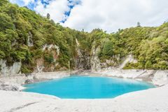 Inferno Crater Lake. Incredibly blue and highly acidic Inferno Crater Lake at Waimangu geothermal area, New Zealand Stock Photos