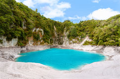 Inferno Crater Lake. Incredibly blue and highly acidic Inferno Crater Lake at Waimangu geothermal area, New Zealand Stock Photography