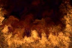 Inferno de derretimento do espaço no fundo preto, meio quadro com fumo denso - fogo dos cantos e da parte inferior esquerdos e di ilustração royalty free