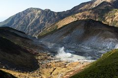 Inferno del fango in Tateyama del Giappone Fotografie Stock