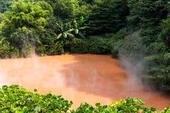 Inferno dello stagno del sangue a Beppu fotografie stock