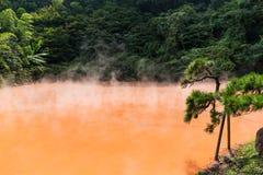 Inferno dello stagno del sangue a Beppu fotografia stock libera da diritti