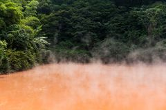 Inferno dello stagno del sangue a Beppu fotografie stock libere da diritti