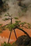 Inferno dello stagno del sangue - sorgente di acqua calda colorata immagini stock