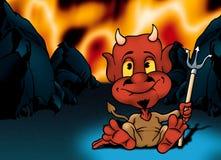 Inferno e diabo pequeno vermelho Fotos de Stock Royalty Free