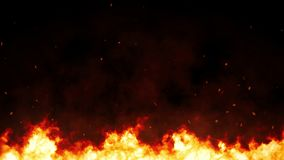 Inferno fire with sparks and smoke, hell fire burning up, intense fuel blazing for digital composition