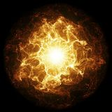 Inferno fireball. Abstract burning sphere with glowing flames royalty free illustration