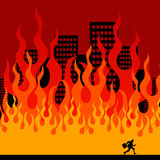 Inferno. Fleeing from a large fire Stock Photo