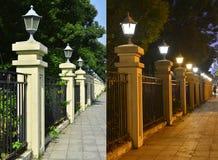 Inferriata con le lampade di via Fotografia Stock Libera da Diritti
