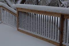 Inferriata fresca del rivestimento della neve su un caso della scala e della piattaforma immagini stock libere da diritti