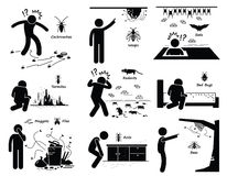 Infestación de la jerarquía Clipart de los parásitos Imagen de archivo libre de regalías