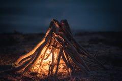 Infiamma il fuoco di legna da ardere Immagine Stock Libera da Diritti