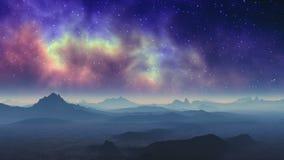 Infiammi nella nebulosa sopra un pianeta straniero illustrazione di stock