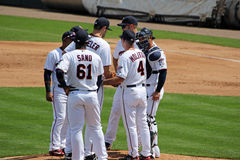 Infield Meeting on the Mound Royalty Free Stock Photography