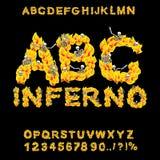 infierno ABC Fuente del infierno Letras del fuego Pecadores en hellfire helli Imagenes de archivo