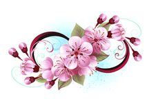Infini avec le tatouage de fleur de Sakura Photos libres de droits