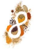 Infinidade de ervas da mistura da especiaria da nutrição, alecrins, cardamon, pimenta Foto de Stock