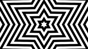 Infinite birth of a six-pointed star black-and-white mask. Tunnel of Hexagram David Star. Seamless loop animation. CG stock footage