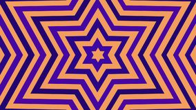 Infinite birth of a six-pointed star purple white gold color. Tunnel of Hexagram David Star. Seamless loop animation. Disco club twinkle. CG stock video footage