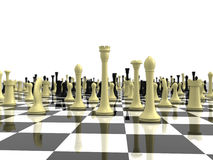 Infinite chess board with a variety of chess piece stock illustration