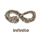 Infinite feather line drawing. Infinite symbol feather line drawing illustration Royalty Free Stock Image
