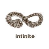 Infinite feather line drawing. Infinite symbol feather line drawing illustration stock illustration