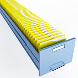 Infinite file cabinet. With yellow file folder Stock Photography
