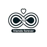 Infinite friendship, friends forever, special vector logo combin Stock Image