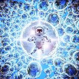 Infinite galaxies astronaut. 3D illustration of astronaut floating among bright glowing galactic spheres Royalty Free Stock Image