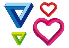 Infinite heart and triangle, vector set Royalty Free Stock Image