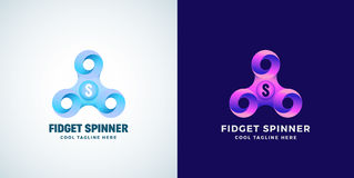 Infinite Loops Fidget Spinner Abstract Vector Sign, Emblem or Logo Template. Modern Gradient Creative Concept. Version and on Dark Background vector illustration