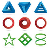 Infinite Loops and Impossible Objects Collection Royalty Free Illustration
