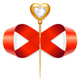 Infinite Love. Tape in the shape of infinity sign and golden heart Royalty Free Stock Photos
