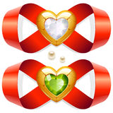 Infinite Love. Red tape twirled in the shape of an infinity sign and golden heart with diamond Stock Image