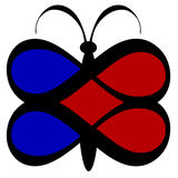 Infinite Love Butterfly. Beveled red and blue butterfly with heart wings created by infinity symbols Stock Image