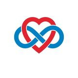 Infinite Love concept, vector symbol created with infinity loop Stock Images