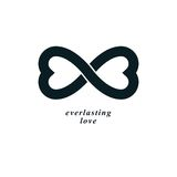 Infinite Love concept, vector symbol created with infinity sign Stock Photos