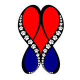 Infinite Love Paw Prints. Red and blue hearts created by infinity symbols and accented with paw prints Stock Photo