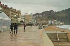 Infinite Maritime Walk Of Zarauz On A Rainy Day With Strong Wind Caused By The Temporary Hugo. Landscapes Travel Nature. stock photo