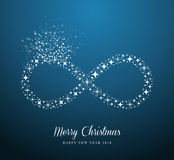 Infinite Merry Christmas and Happy New Year stars. Merry Christmas and Happy New Year 2014 contemporary stars Infinite symbol composition card. EPS10 vector Stock Photos