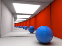 Infinite mirror reflections. 3D ball in room with two mirrors on sides Stock Photo
