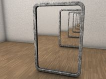 Infinite mirrors. Two mirrors placed opposite each other, so reflections are infinite Royalty Free Stock Images
