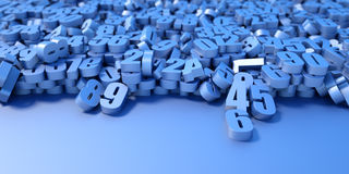 Infinite numbers background. Technology and science original 3d illustration Stock Photography
