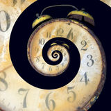 Infinite Old Rusty Clock. Conceptual Image of Endless Time Passing Stock Photos