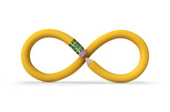Infinite Pencil. A yellow pencil in the shape of an infinity symbol on white with drop shadow. Includes clipping path Stock Image