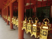 Infinite piety. Kasuda Sanctuary bells, Nara, Japan royalty free stock photography