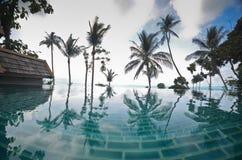 Infinite pool villa resort Stock Photo